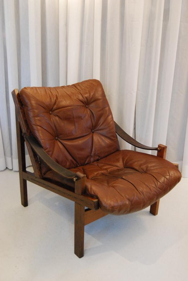 Stoere jaren 60 bruin leren fauteuil / Noors  DE GELE ETALAGE