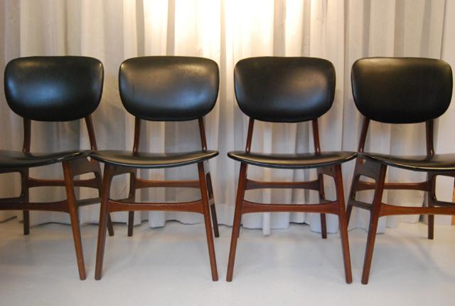 Set van 4 vintage jaren 60 teakhouten stoelen de gele for Vintage stoelen