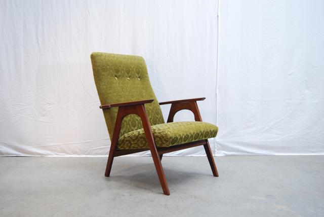 Wonderbaar Teakhouten jaren 60 fauteuil met retro bekleding | DE GELE ETALAGE PD-25
