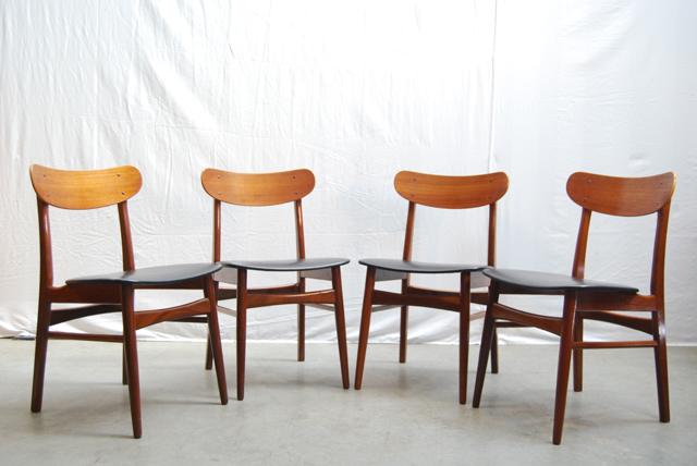 Moderne vintage palissander eettafelstoelen deens design de gele