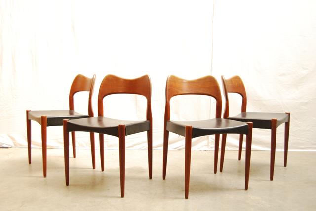 Teakhouten jaren 50 eettafelstoel deens design hovmand for Eetkamerstoelen scandinavisch