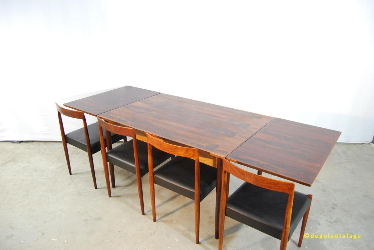 scandinavische jaren 70 palissander eettafel deens dyrlund de gele etalage. Black Bedroom Furniture Sets. Home Design Ideas