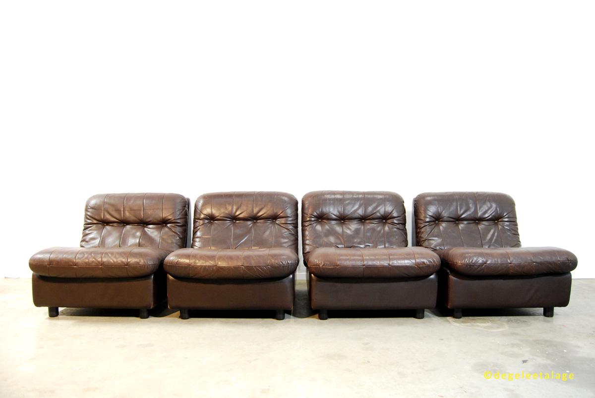 Vintage jaren 70 leren elementen bank sofa leolux de gele etalage - Bank jaren ...