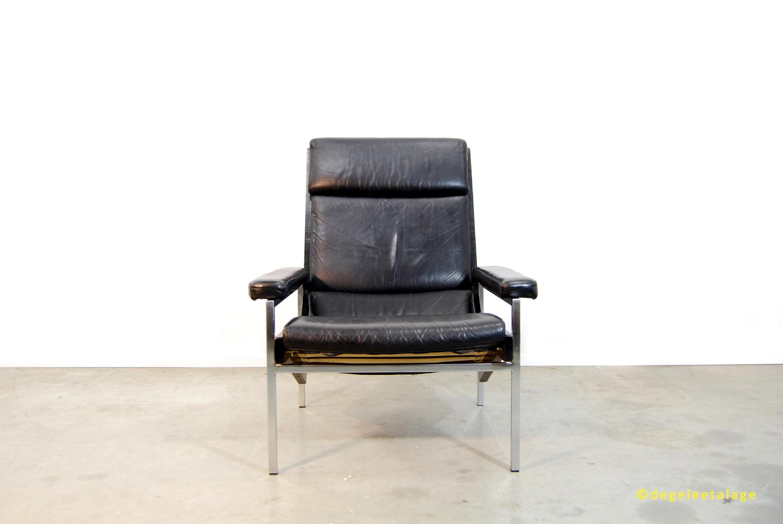 #85683723672376 Vintage Jaren 60 Zwart Leren LOTUS Fauteuil / Rob Parry / Gelderland  Aanbevolen Second Design Meubels Numansdorp 79 afbeelding/foto 1500100479 beeld