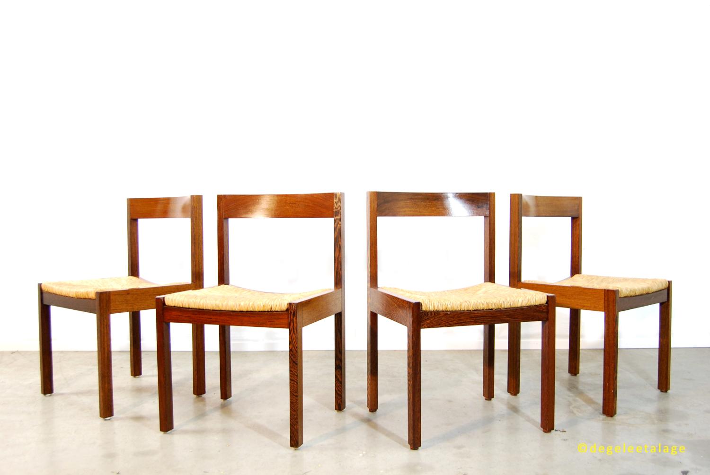 Vintage jaren 70 zebrano houten eettafel stoelen met biezen zitting