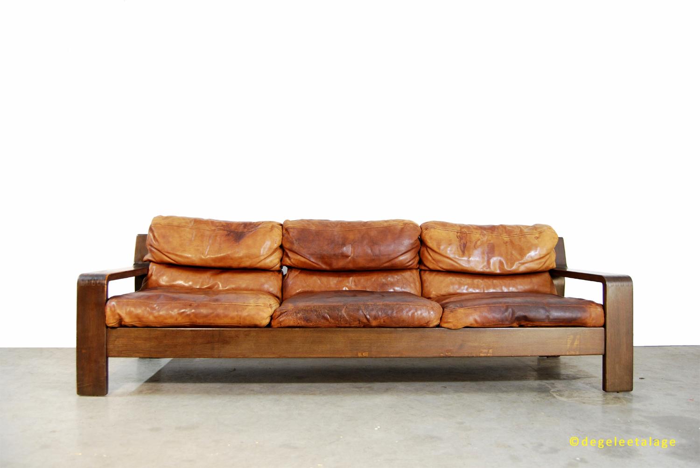 Vintage Leren Bank : Stoere vintage 3 zits bank leren sofa bankstel 1970s de gele